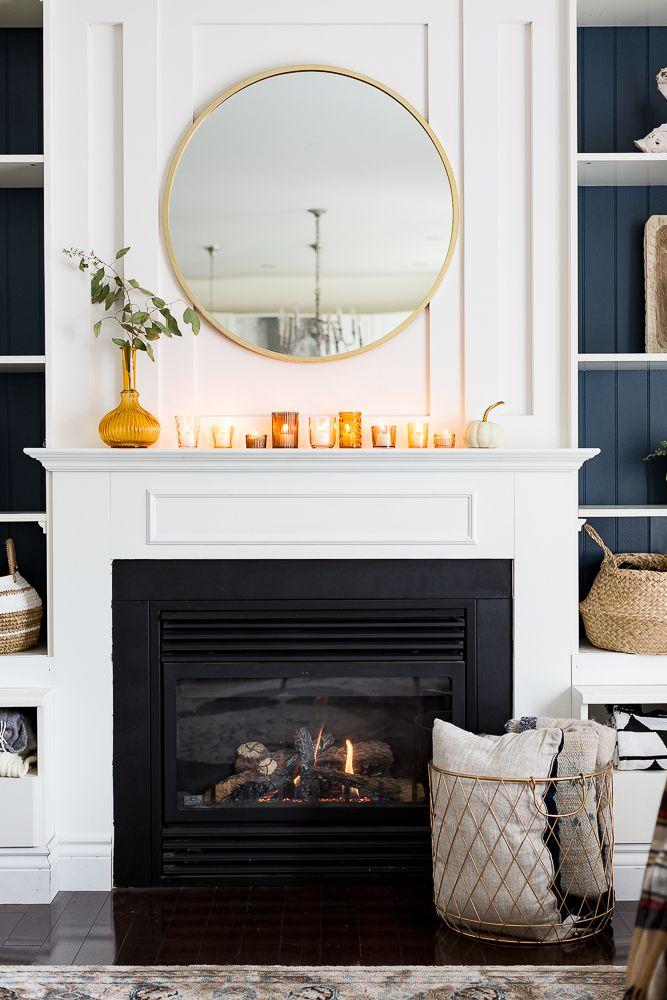 Amber glass mantel display.