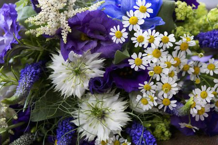 Blue Wedding Flowers With Bachelor Ons