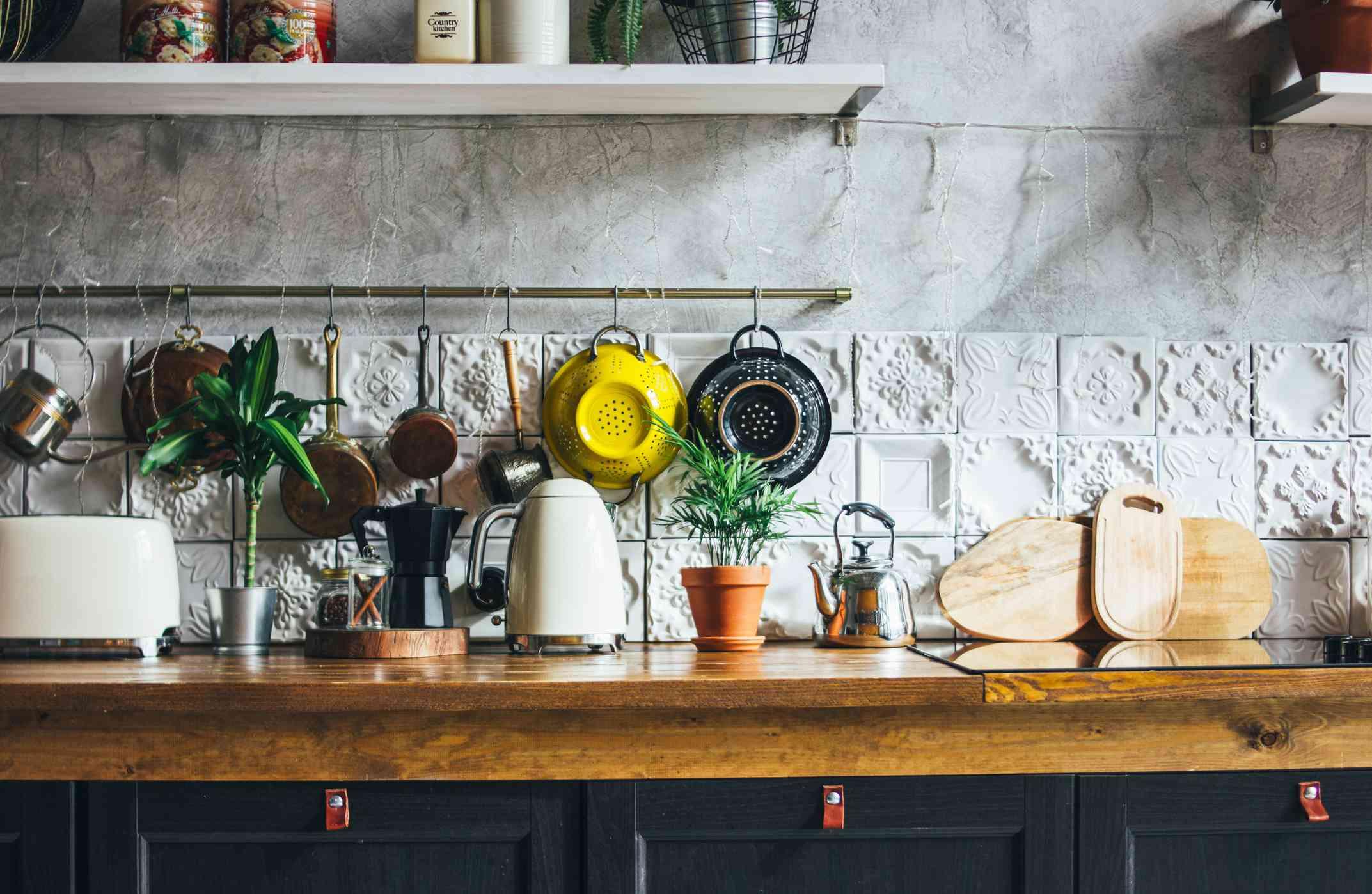 Textured tile kitchen backsplash