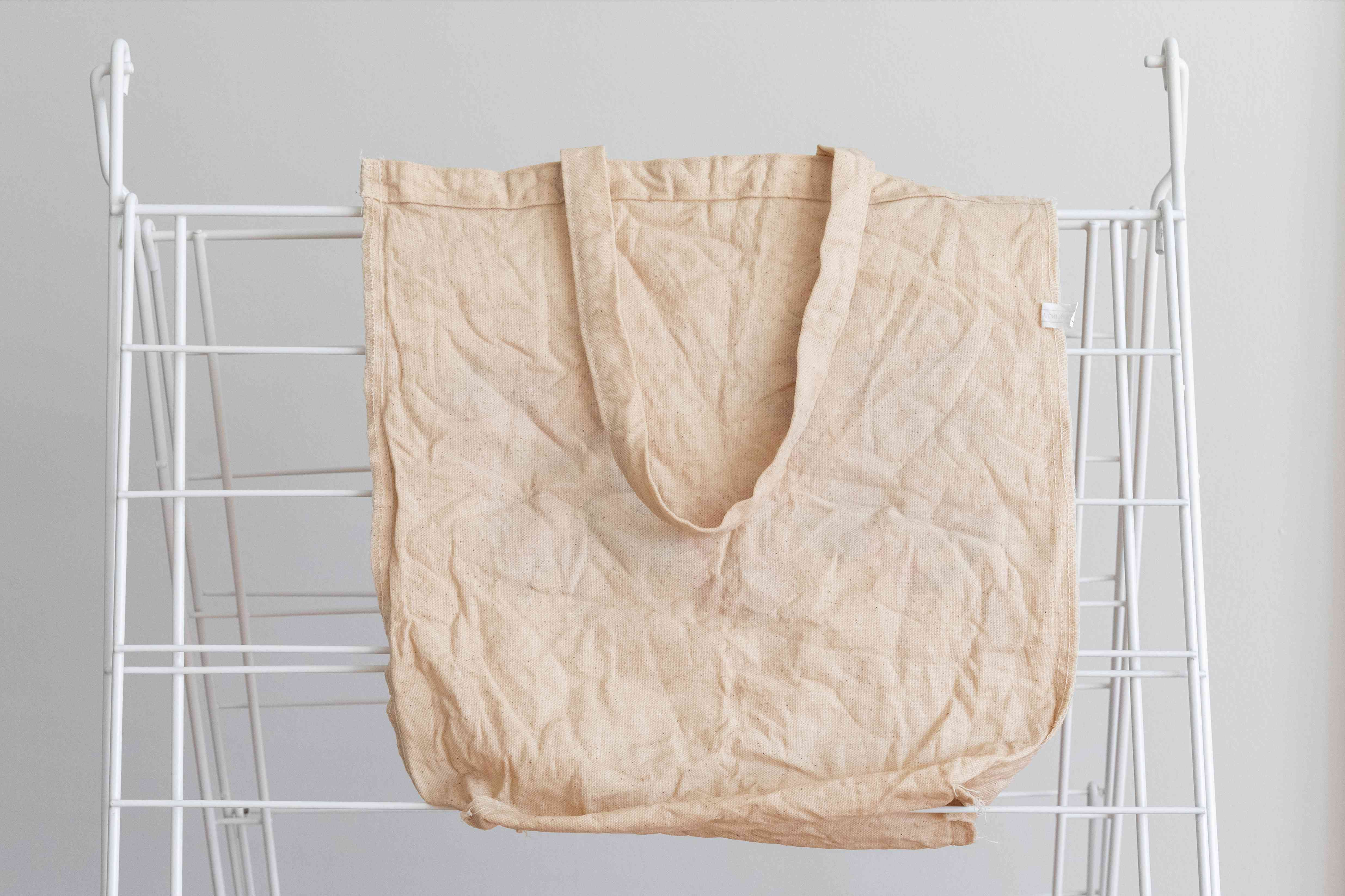 Canvas reusable bag hanging to line dry