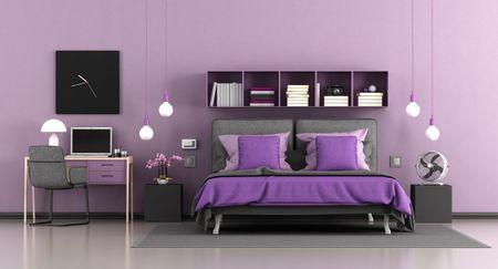 Purple Bed Bedroom And Desk