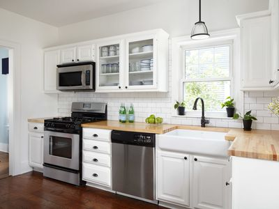 Butcher block countertops in family kitchen