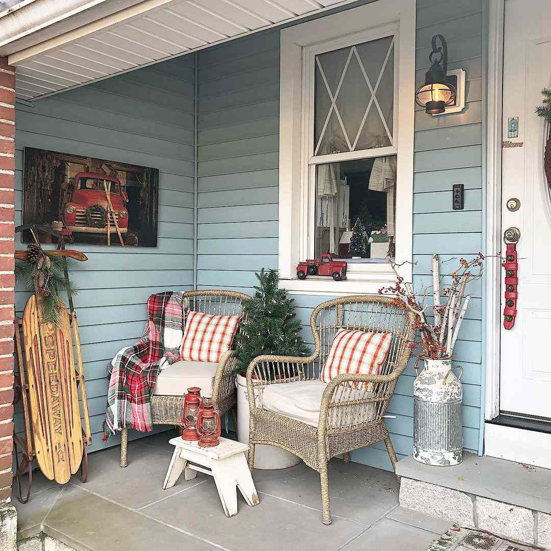 Porch decorated with Christmas decor