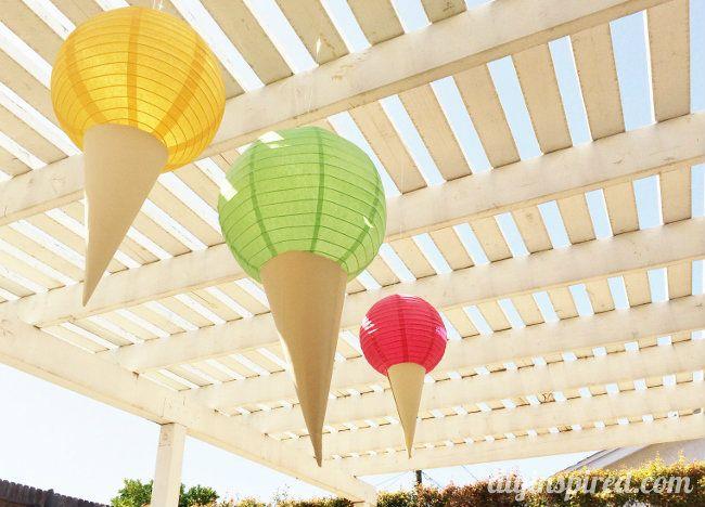 DIY Ice Cream Cone Paper Lanterns