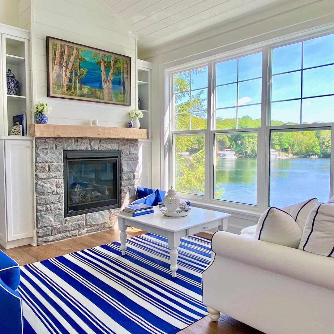Living room with a view of the lake