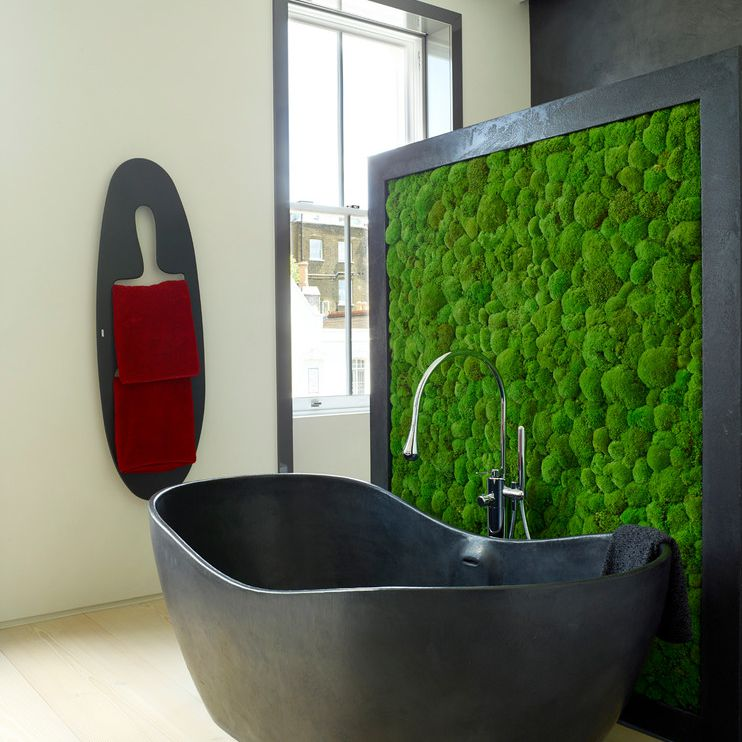 Moss Wall Room Divider in a Bathroom