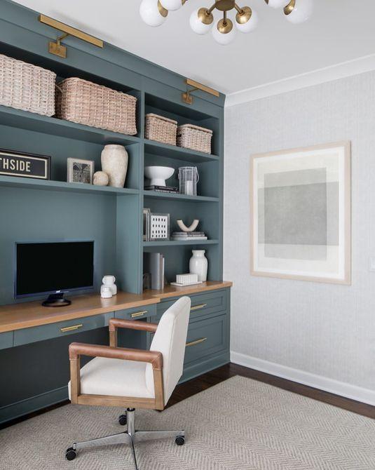 Oficina hogareña con escritorio incorporado