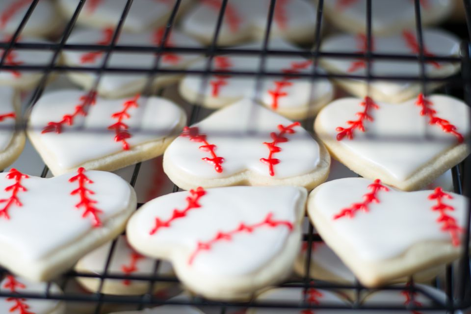 Heart Shaped Baseball Sugar Cookies