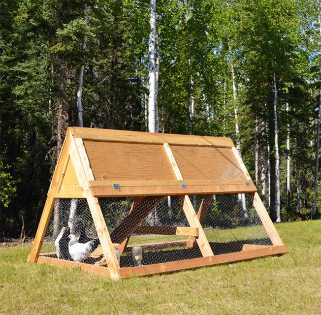 Un gallinero de madera con marco en A en un patio