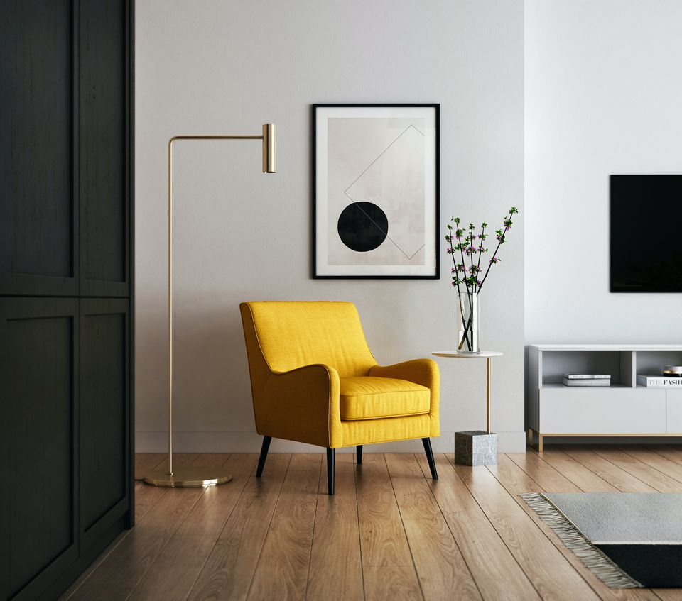 Modern living room with yellow chair