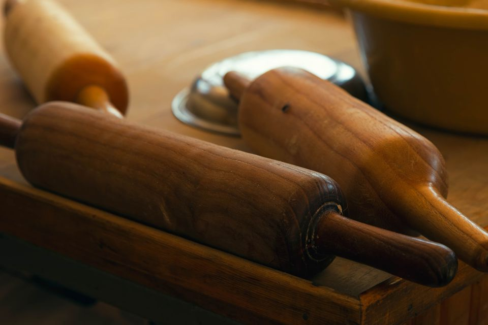 Close-up of Rolling Pins on Table