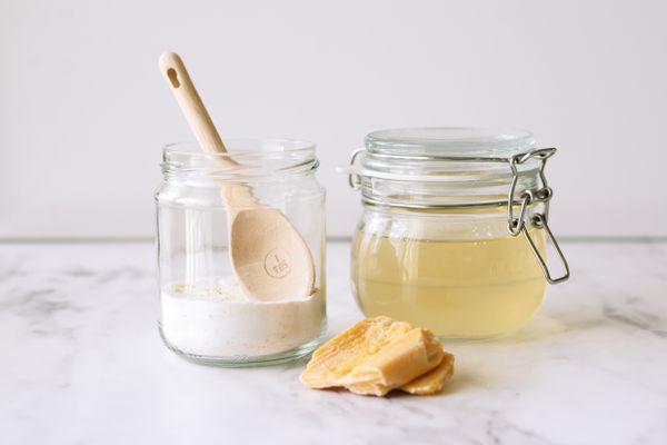 Homemade laundry detergent in glass containers