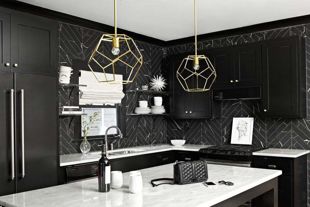 White Cabinets Black Hardware Grey Backsplash