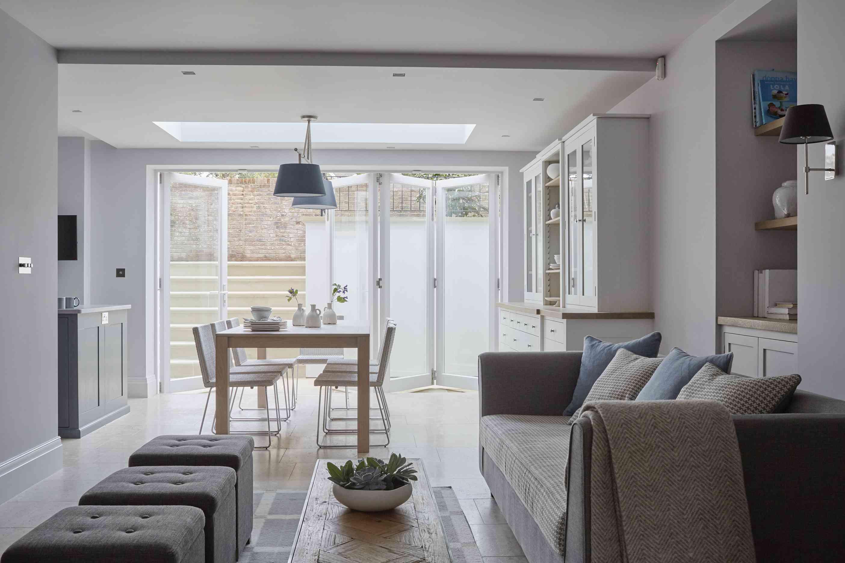 British designer Emma Sims-Hilditch's design features accordion doors to connect indoor and outdoor spaces