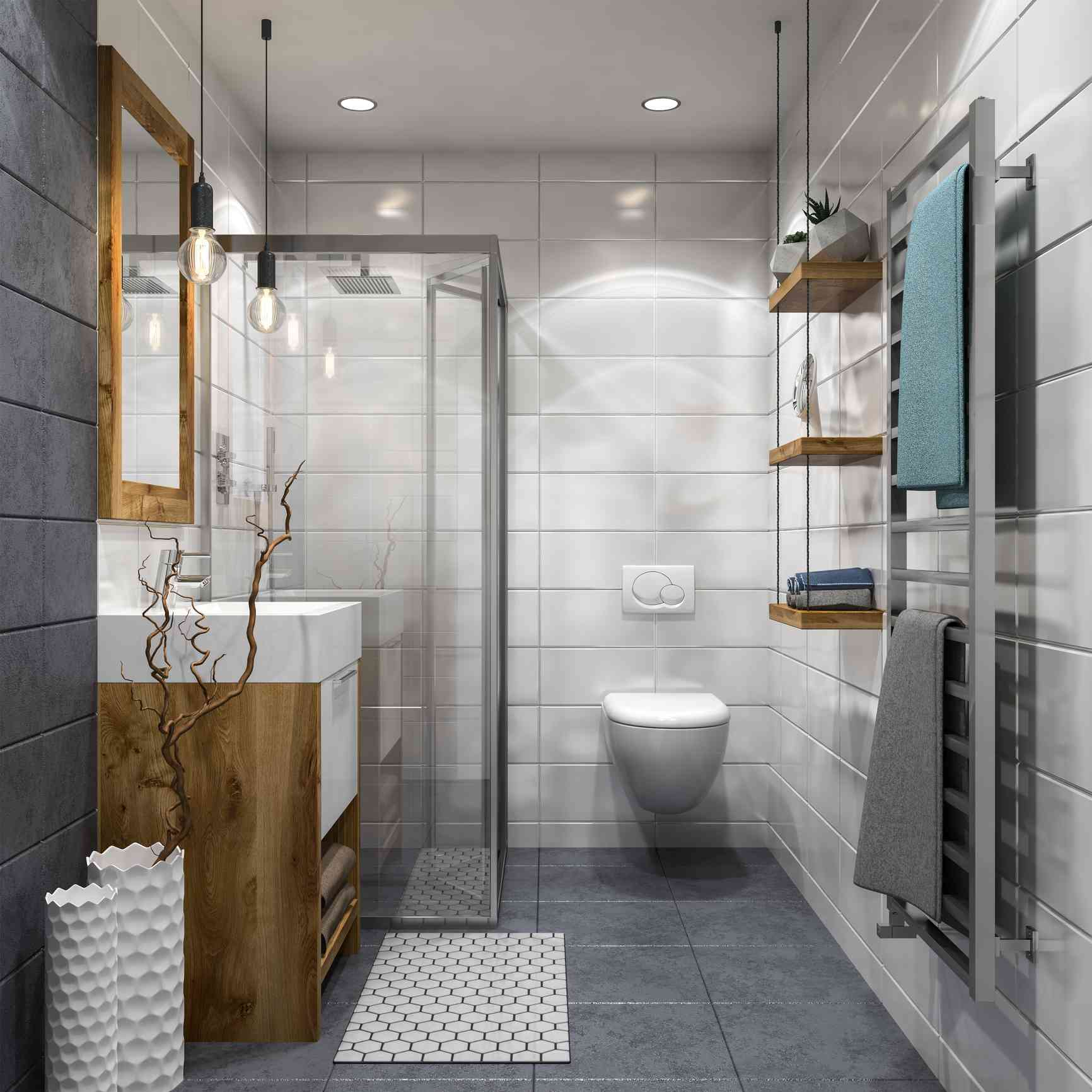 Industrial bathroom with wood touches