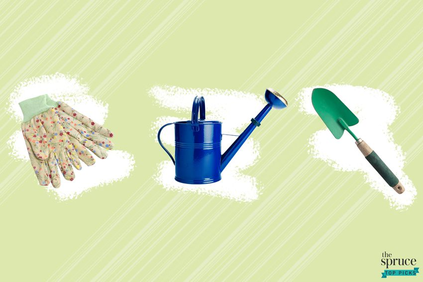 Photo Composite of gardening gloves, a watering can, and a small trowel over a white crayon brush over a green background.