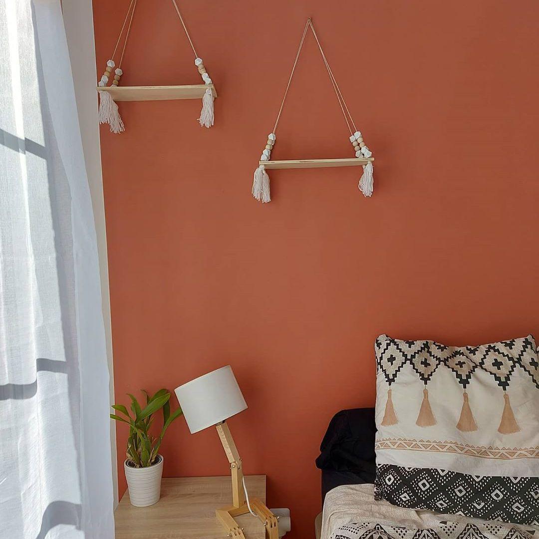 Bedroom with orange red paint