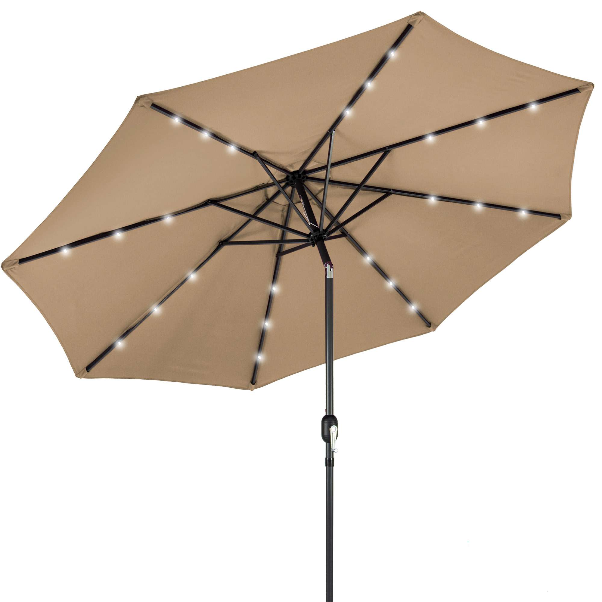 Best Choice Products 10ft Solar LED Lighted Patio Umbrella w/ Tilt Adjustment, Fade-Resistant Fabric