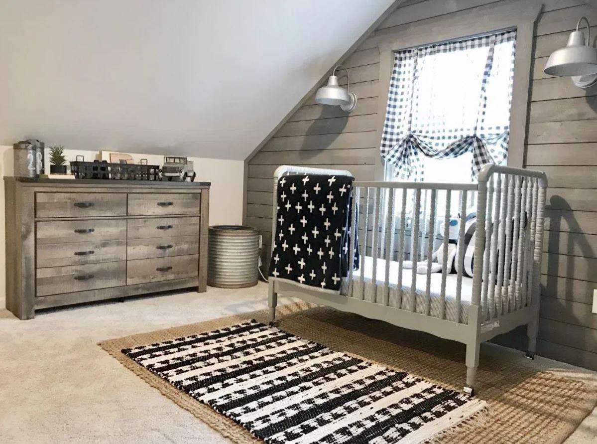 Updated attic nursery with farmhouse feel.