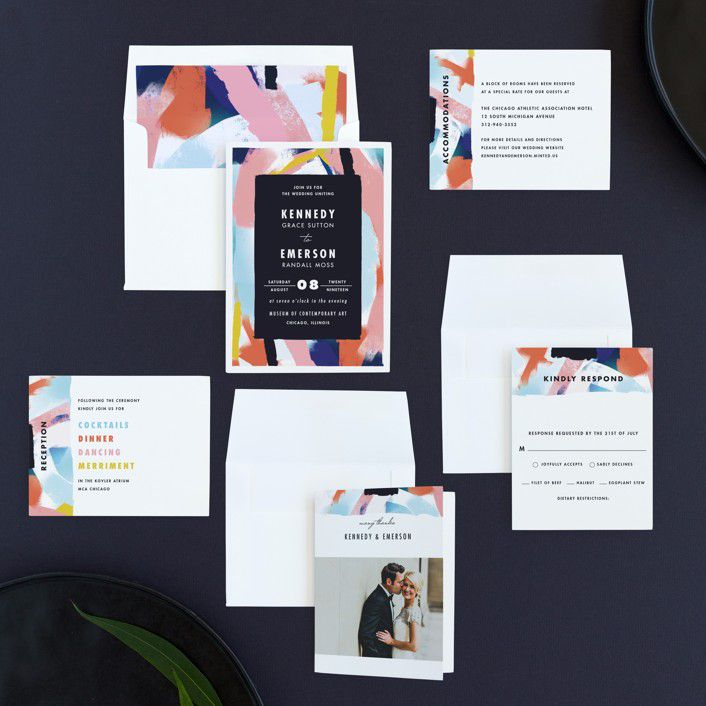 Several wedding invitation samples from Minted