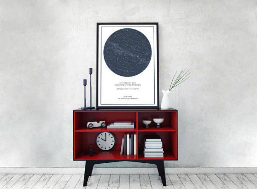 Custom Star Map - Blue Grey Border Print, Personalised Star Map, Night Sky, Constellation Print