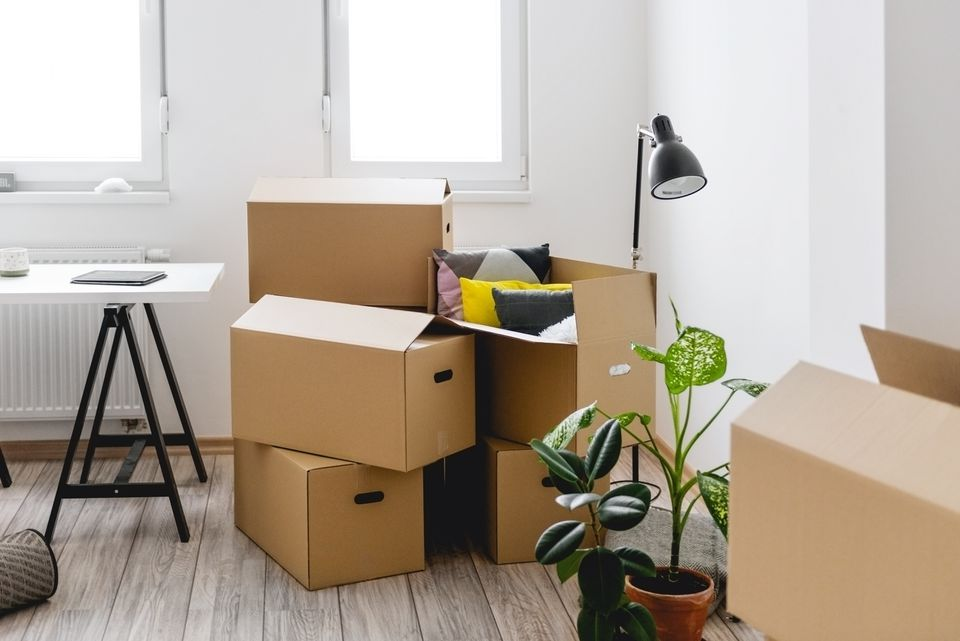 Boxes in new apartment