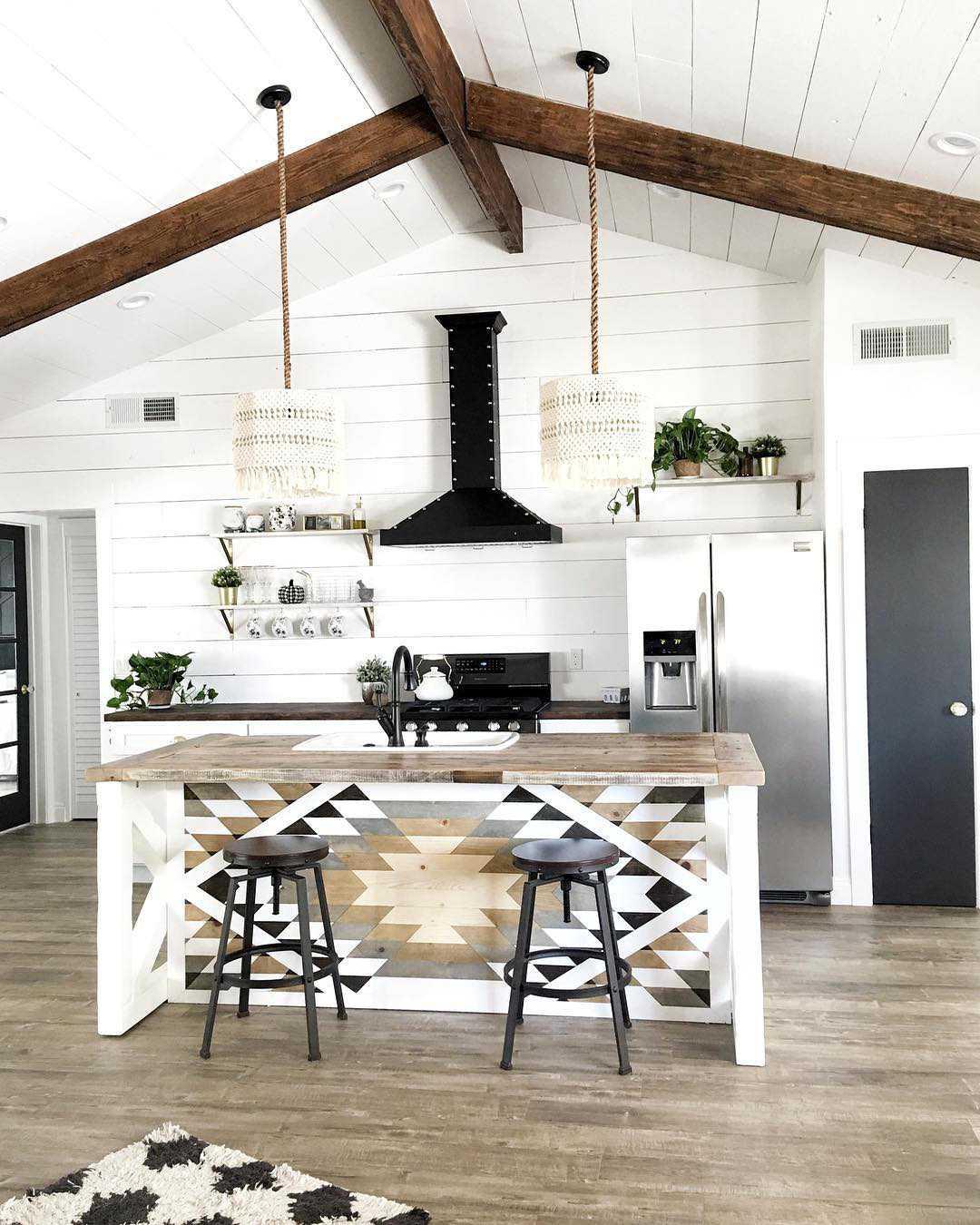 Aztec print island in a modern white kitchen
