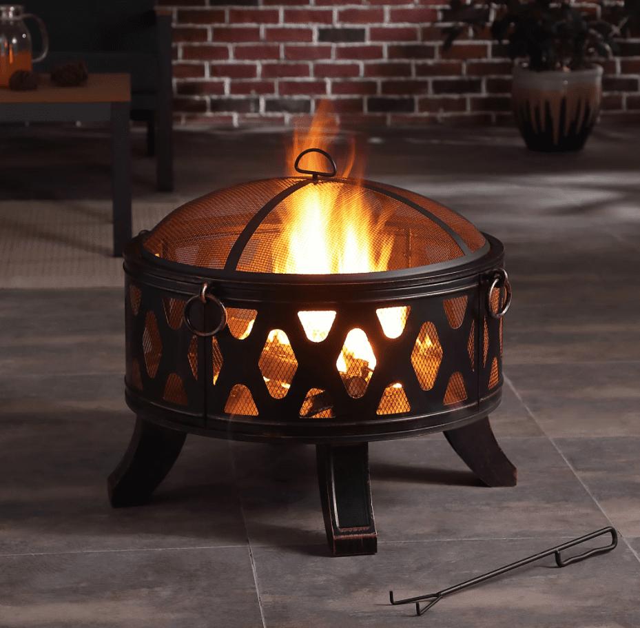 Red Barrel Studio Brishna Crossweave Steel Wood Burning Fire Pit
