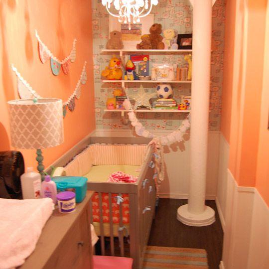 Tiny, coral closet nursery