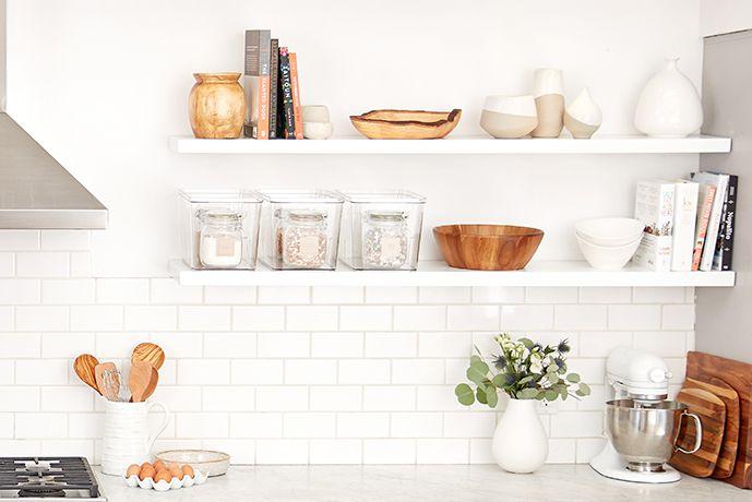 cookbooks on open shelves