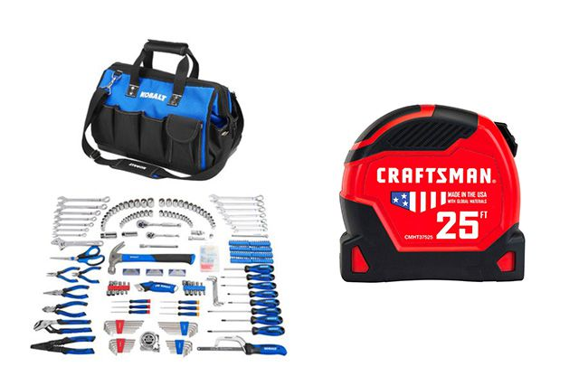 Kobalt Tool Kit with blue and black tool case with a red craftsman tape measure