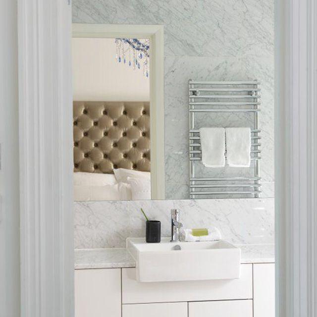 White marble contemporary bathroom