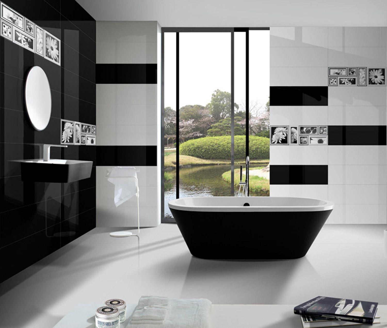 Stylish black and white bathroom