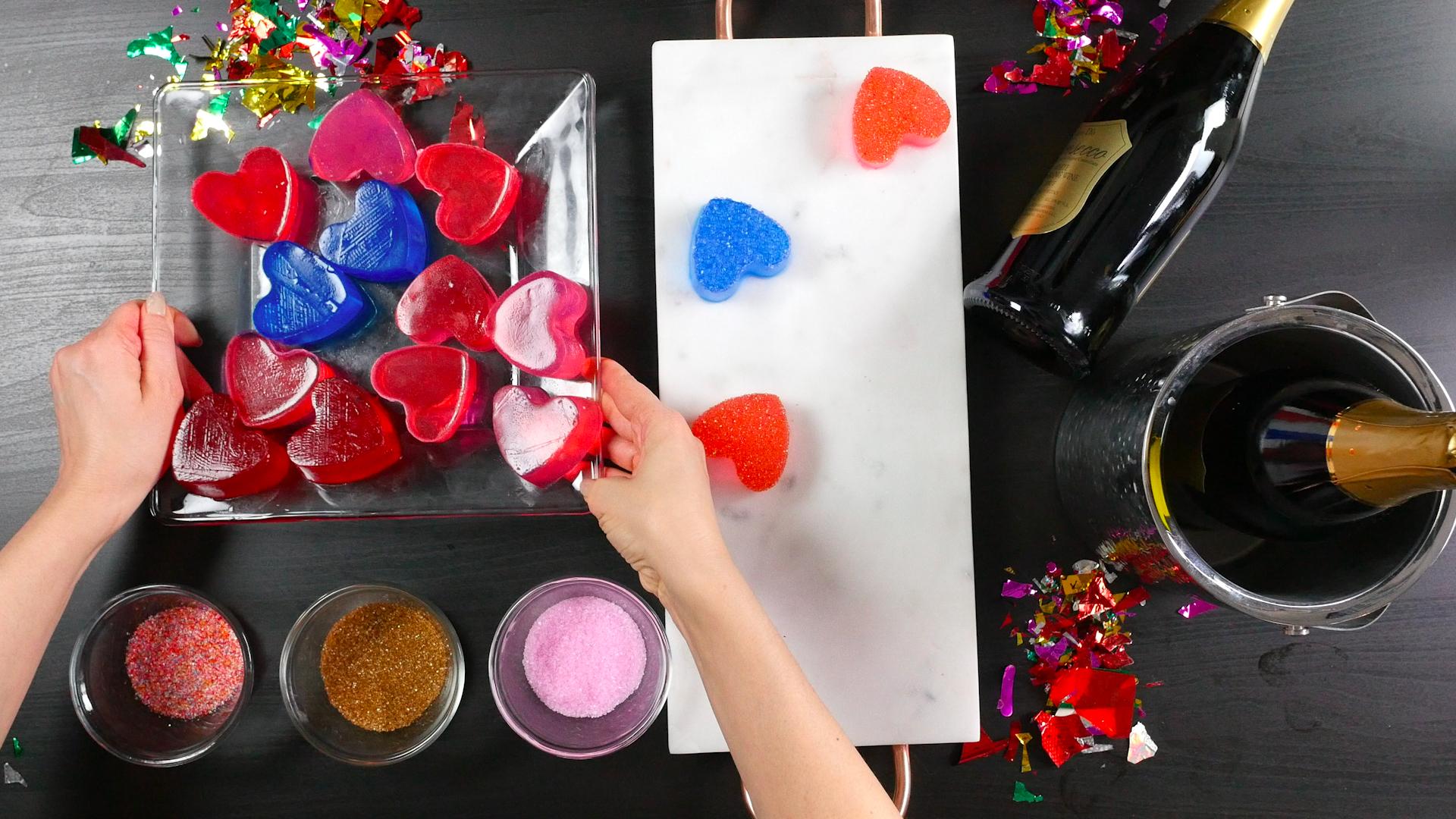 Red, white, and blue jello shots