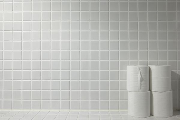 Toilet paper placed on a tiled.