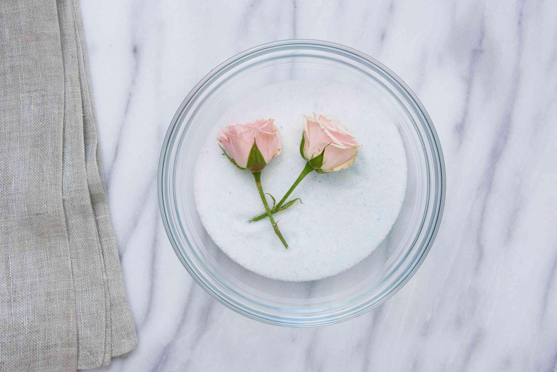 rosebuds being dried using silica gel