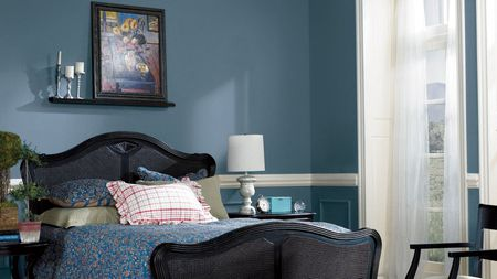 Sherwin Williams Smoky Blue Bedroom Wall Color