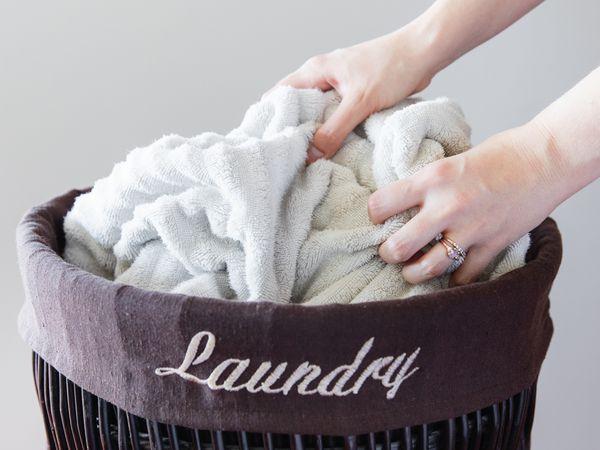 hamper of laundry