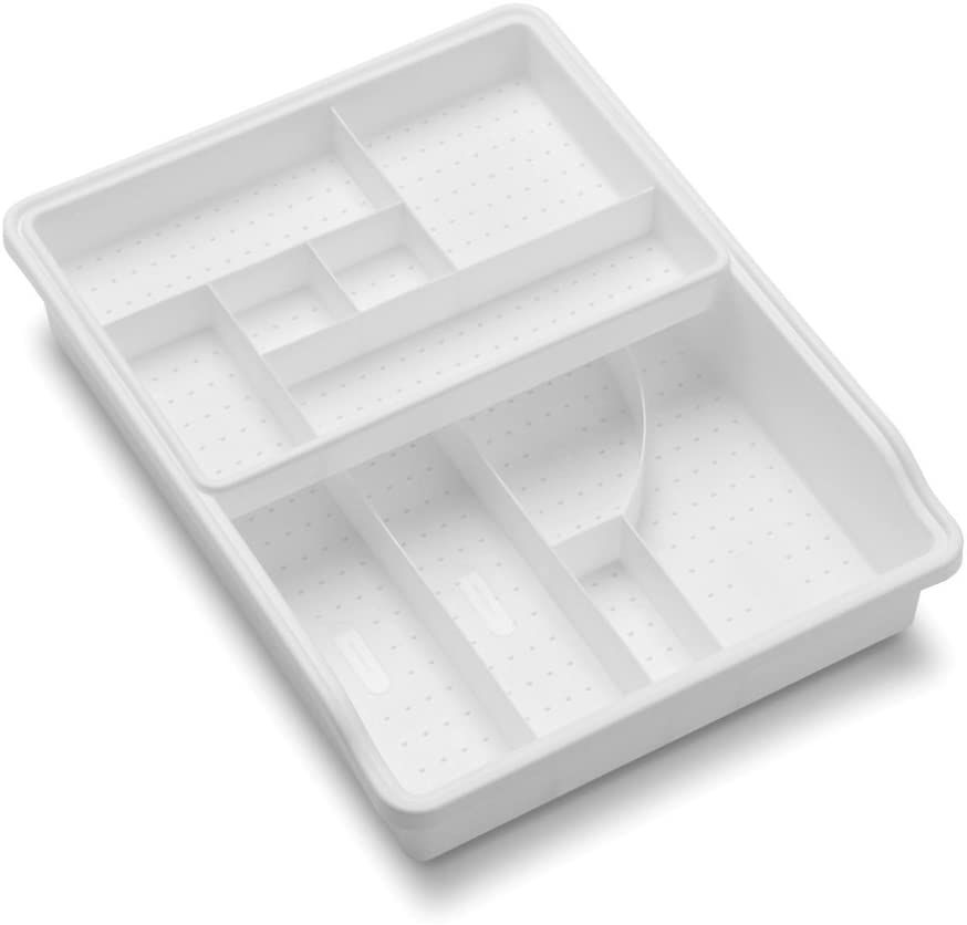 madesmart White Junk Drawer Organizer with Removable Top Tray