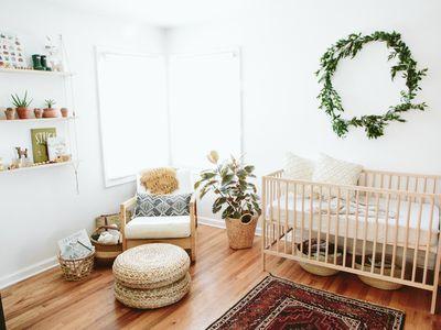 Fresh white nursery with boho vibe