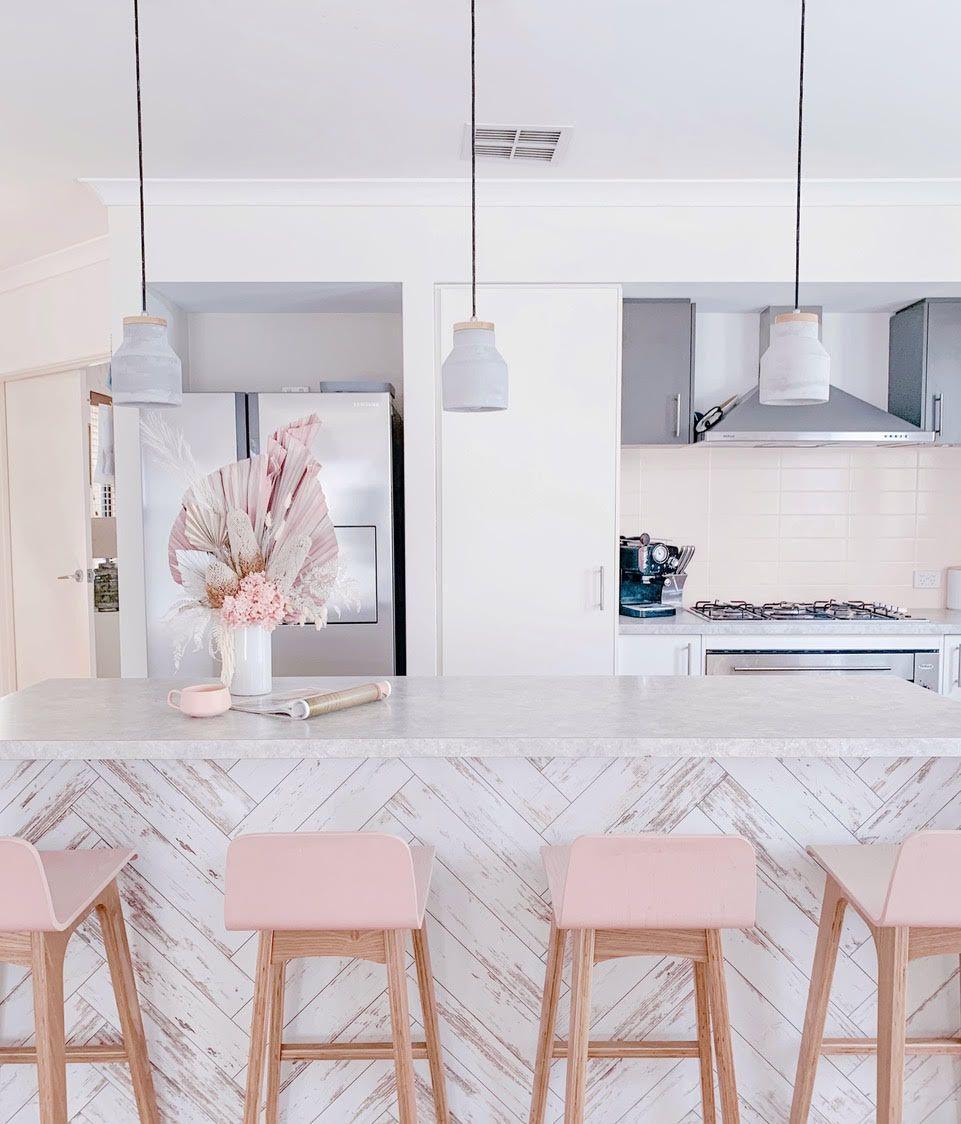 kitchen island with wallpaper