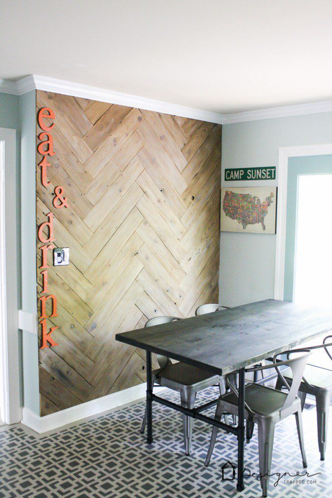 kitchen with wood wall