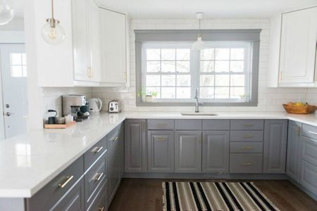 Ways To Style Gray Kitchen Cabinets - Grey and white kitchen cupboards