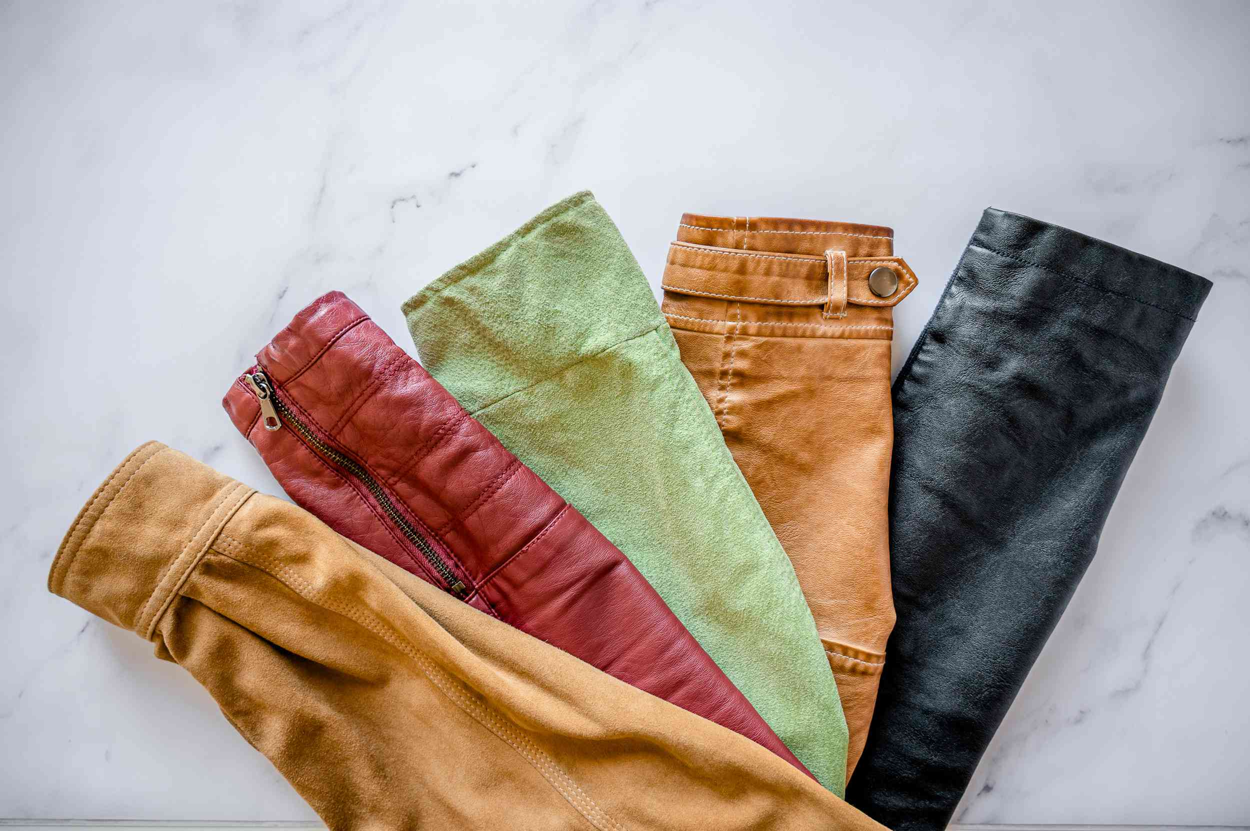 Different types of leather jacket sleeves and colors