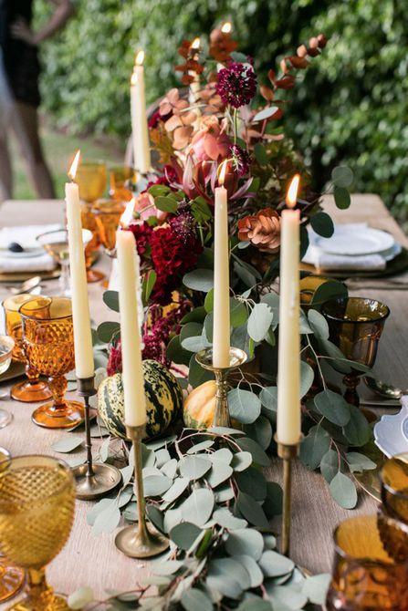 Centros de mesa de bodas de otoño