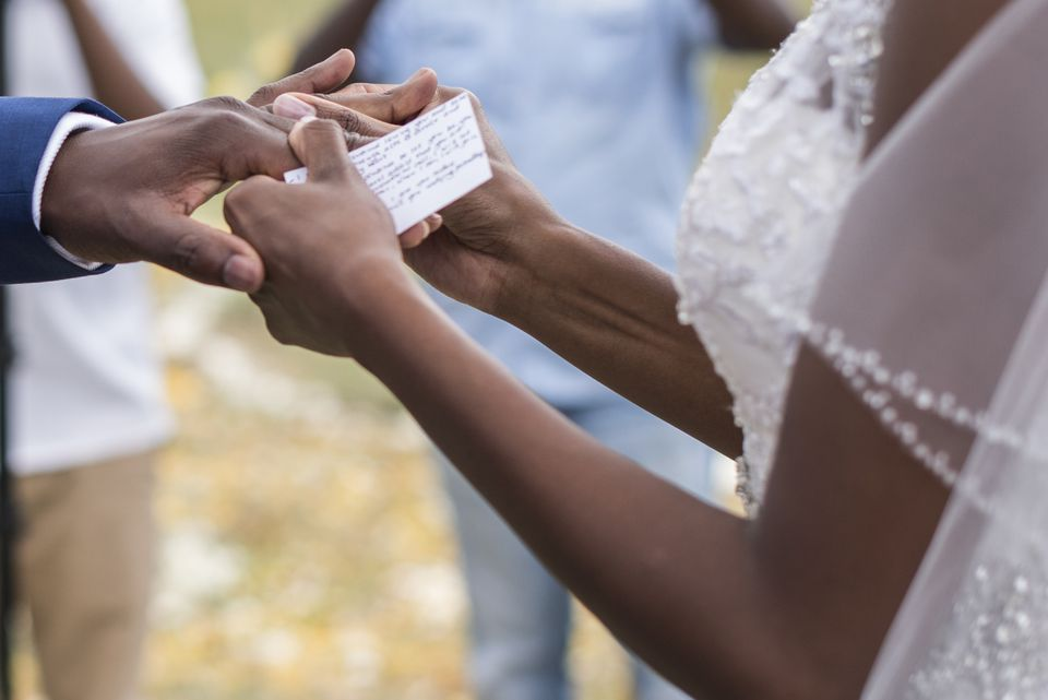 Close-up of Newlywed couple Exchanging Rings at Wedding Ceremony