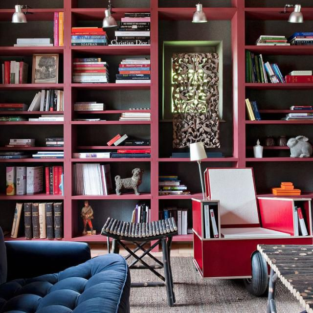 Colorful home library in pink and blue