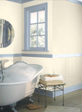 Baño blanco crema marfil con ribete azul