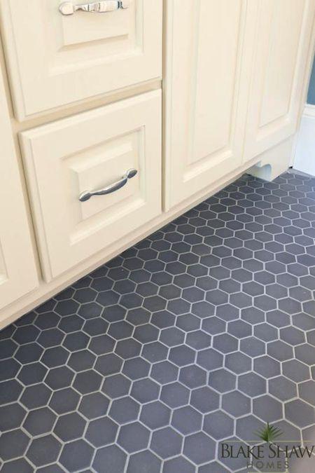 Bathroom With Hex Gray Tile Floor