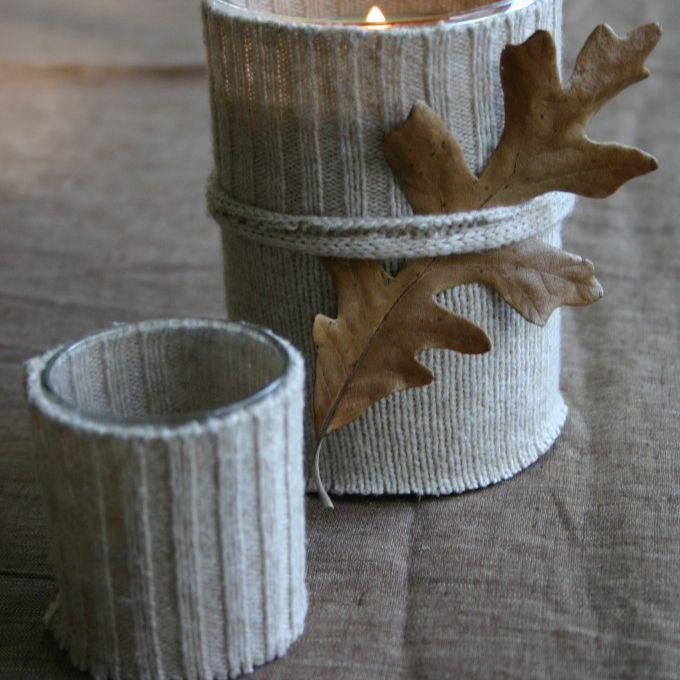 Fall leaf diy project idea: sweater candle